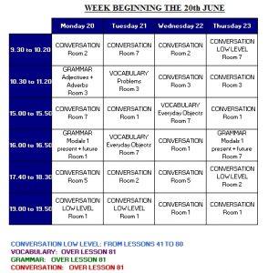 clases adicionales de 20 junio